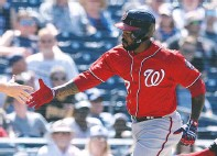 ??  ?? 1. Howie Kendrick's pinch-hit homer off a curveball with one out was a 421-foot line drive that gave the Nats a 2-1 lead.