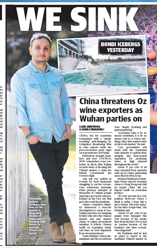 ?? Picture: Tim Hunter ?? Winemaker Richard Harkham, who fears for his exports to Hong Kong because of China's antidumping trade threats to Australia.