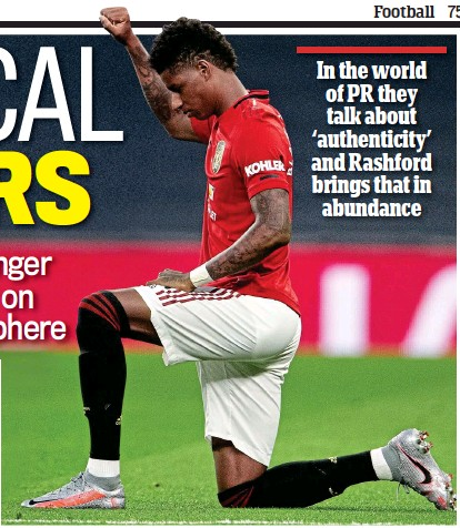 ?? GETTY IMAGES ?? Taking a stance: Rashford has led the way on social issues during the coronavirus crisis