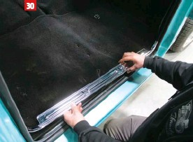 ??  ?? 30 A new set of sill plates from Classic Industries will hold down both the new carpet and the new door seals.