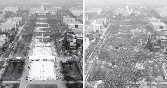 ?? LUCAS JACKSON/REUTERS STELIOS VARIAS/REUTERS ?? The inauguration of President Trump, left, on Jan. 20, and the inauguration of President Barack Obama on Jan. 20, 2009, right, as seen from the Washington Monument around the same time of day.