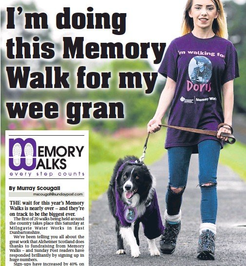 ??  ?? Student Caitlin Mooney is taking part in a Memory Walk with family dog, Finn.