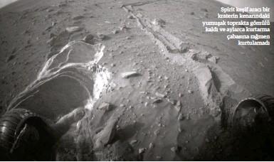 ??  ?? Spirit keşif aracı bir kraterin kenarındaki yumuşak toprakta gömülü kaldı ve aylarca kurtarma çabasına rağmen kurtulamadı