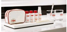 ??  ?? Guests will enjoy a full lineup of TWA hotel grooming essentials. (The items shown are part of an authentic toiletries kit that will be on display in the TWA hotel museum.)