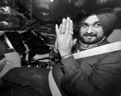 ?? PHOTO: PTI ?? Congress leader Navjot Singh Sidhu leaves after meeting party President Sonia Gandhi, in New Delhi on Friday