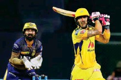 ?? PTI ?? Super Kings opener Faf du Plessis played a fluent knock, but narrowly missed what would have been a deserving century.