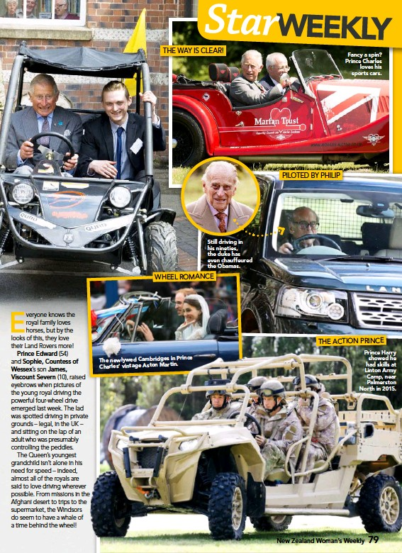 ??  ?? The newlywed Cambridges in Prince Charles' vintage Aston Martin. Still driving in his nineties, the duke has even chauffeured the Obamas. Fancy a spin? Prince Charles loves his sports cars. Prince Harry showed he had skills at Linton Army Camp, near...