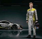 ??  ?? Esports ace James Baldwin, in a sim and with the McLaren he'll drive in his live racing debut.