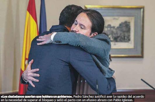 SÁNCHEZ SELLA EN HORAS UN PACTO PARA GOBERNAR CON IGLESIAS DE VICEPRESIDENTE