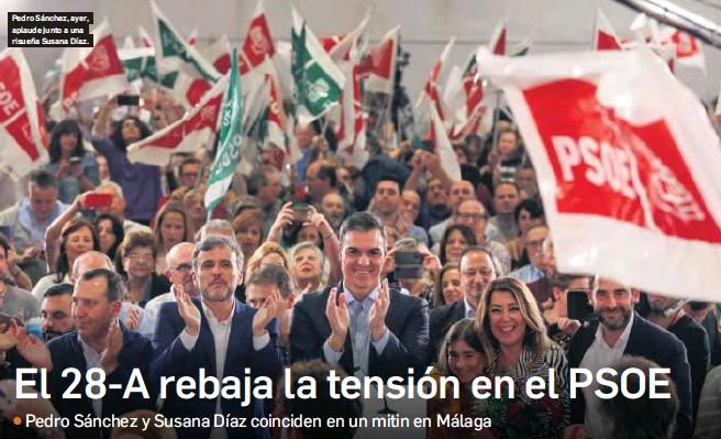 EL 28-A REBAJA LA TENSIÓN EN EL PSOE