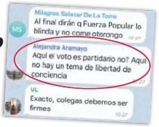 """""""AQUÍ EN FUERZA POPULAR NO HAY LIBERTAD DE CONCIENCIA"""""""