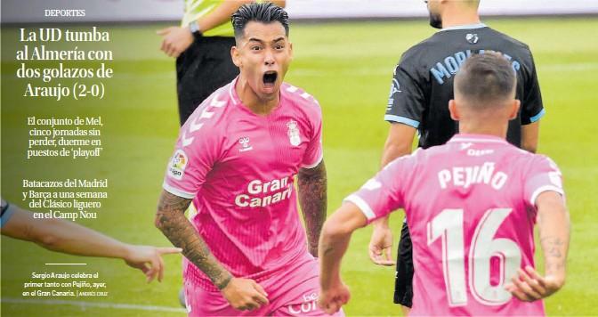 LA UD TUMBA AL ALMERÍA CON DOS GOLAZOS DE ARAUJO (2-0)