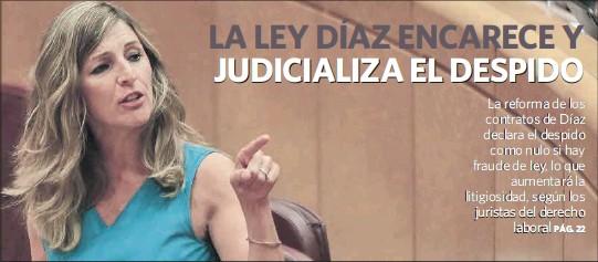 LA LEY DÍAZ ENCARECE Y JUDICIALIZA EL DESPIDO