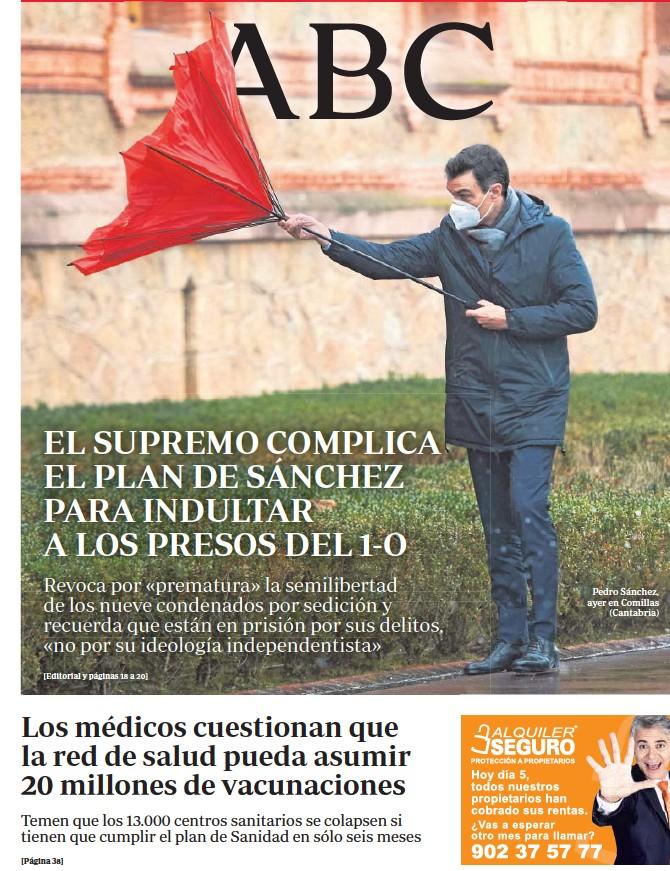 EL SUPREMO COMPLICA EL PLAN DE SÁNCHEZ PARA INDULTAR A LOS PRESOS DEL 1-O