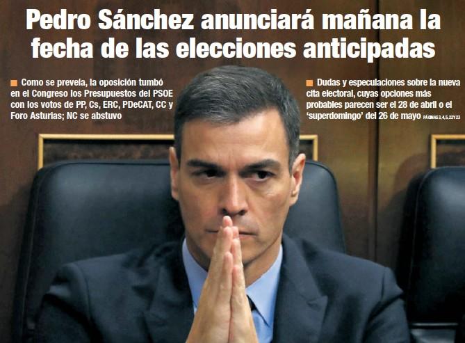 PEDRO SÁNCHEZ ANUNCIARÁ MAÑANA LA FECHA DE LAS ELECCIONES ANTICIPADAS