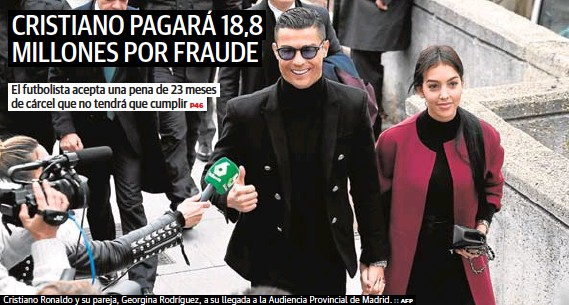 CRISTIANO PAGARÁ 18,8 MILLONES POR FRAUDE
