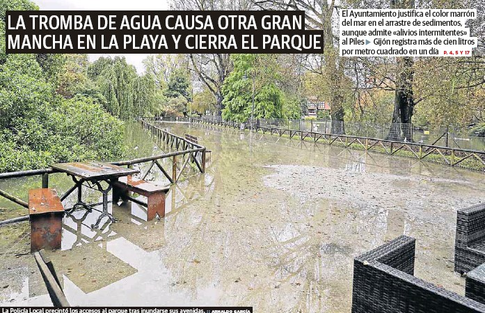 LA TROMBA DE AGUA CAUSA OTRA GRAN MANCHA EN LA PLAYA Y CIERRA EL PARQUE