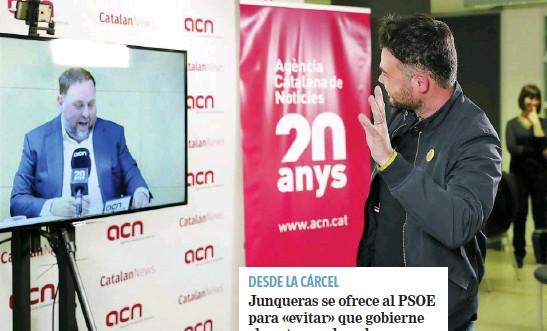 JUNQUERAS SE OFRECE AL PSOE PARA «EVITAR» QUE GOBIERNE «LA EXTREMA DERECHA»