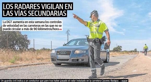 LOS RADARES VIGILAN EN LAS VÍAS SECUNDARIAS