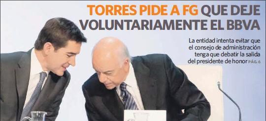 TORRES PIDE A FG QUE DEJE VOLUNTARIAMENTE EL BBVA