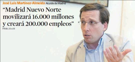 """""""MADRID NUEVO NORTE MOVILIZARÁ 16.000 MILLONES Y CREARÁ 200.000 EMPLEOS"""""""