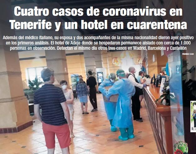 CUATRO CASOS DE CORONAVIRUS EN TENERIFE Y UN HOTEL EN CUARENTENA
