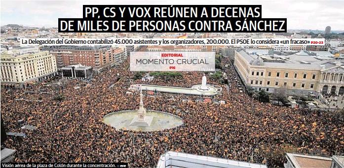 PP, CS Y VOX REÚNEN A DECENAS DE MILES DE PERSONAS CONTRA SÁNCHEZ