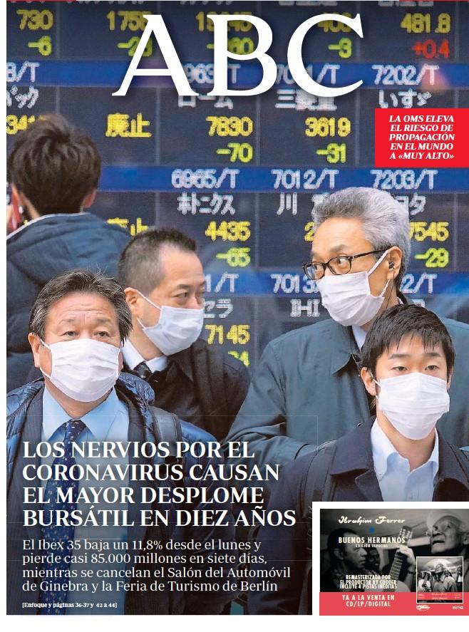 LOS NERVIOS POR EL CORONAVIRUS CAUSAN EL MAYOR DESPLOME BURSÁTIL EN DIEZ AÑOS