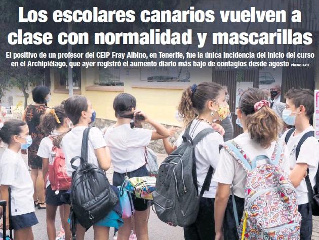 LOS ESCOLARES CANARIOS VUELVEN A CLASE CON NORMALIDAD Y MASCARILLAS