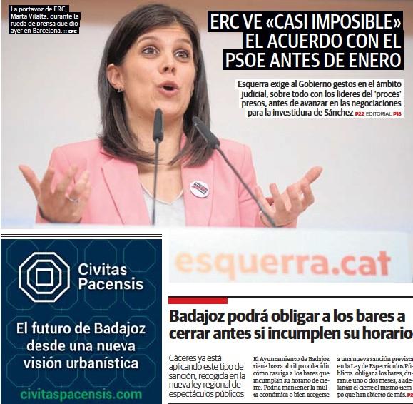 ERC VE «CASI IMPOSIBLE» EL ACUERDO CON EL PSOE ANTES DE ENERO