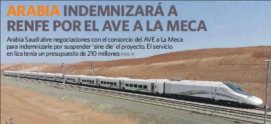 INDEMNIZARÁ A RENFE POR EL AVE A LA MECA
