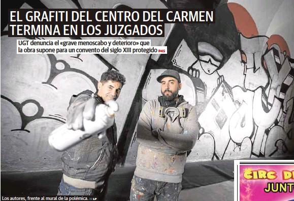 EL GRAFITI DEL CENTRO DEL CARMEN TERMINA EN LOS JUZGADOS