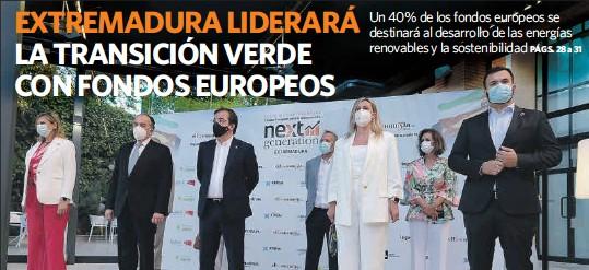 EXTREMADURA LIDERARÁ LA TRANSICIÓN VERDE CON FONDOS EUROPEOS