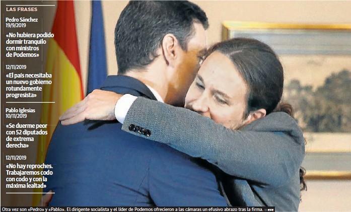 SÁNCHEZ FIRMA UN ACUERDO PARA GOBERNAR EN COALICIÓN CON IGLESIAS DE VICEPRESIDENTE