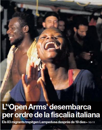 L''OPEN ARMS' DESEMBARCA PER ORDRE DE LA FISCALIA ITALIANA