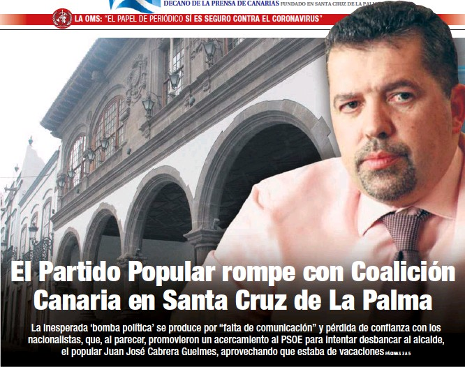 EL PARTIDO POPULAR ROMPE CON COALICIÓN CANARIA EN SANTA CRUZ DE LA PALMA