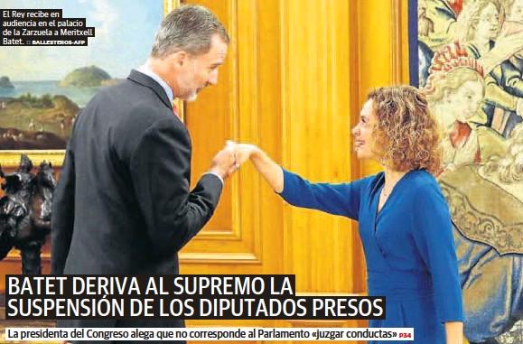 BATET DERIVA AL SUPREMO LA SUSPENSIÓN DE LOS DIPUTADOS PRESOS