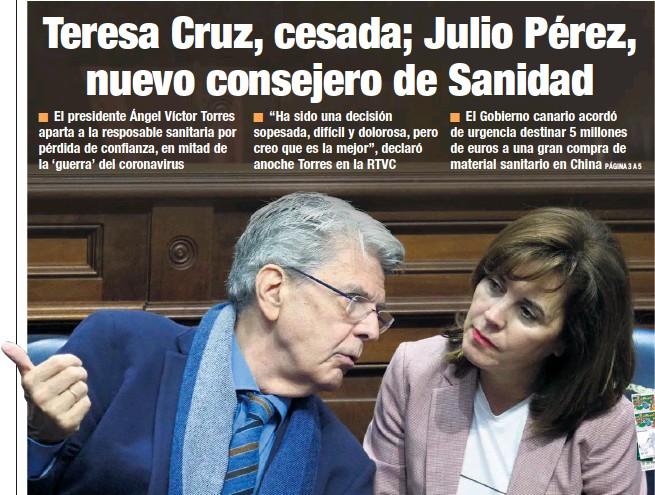 TERESA CRUZ, CESADA; JULIO PÉREZ, NUEVO CONSEJERO DE SANIDAD