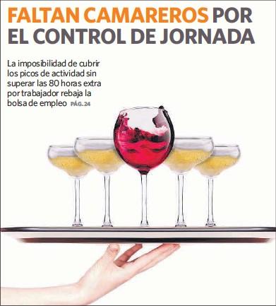 FALTAN CAMAREROS POR EL CONTROL DE JORNADA