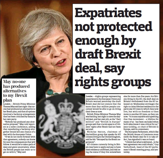 EXPATRIATES NOT PROTECTED ENOUGH BY DRAFT BREXIT DEAL, SAY RIGHTS GROUPS