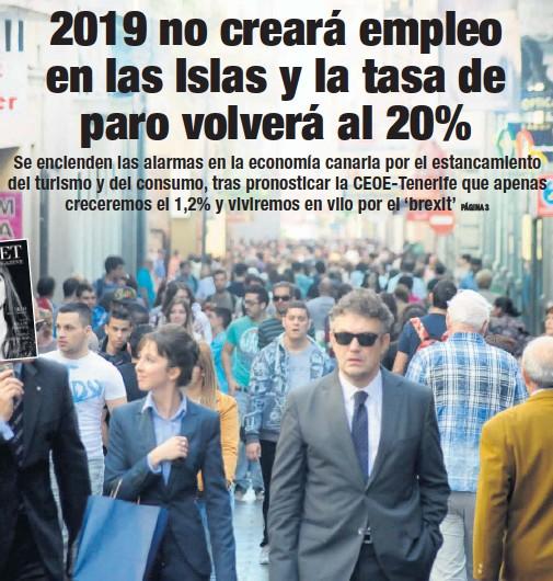 2019 NO CREARÁ EMPLEO EN LAS ISLAS Y LA TASA DE PARO VOLVERÁ AL 20%
