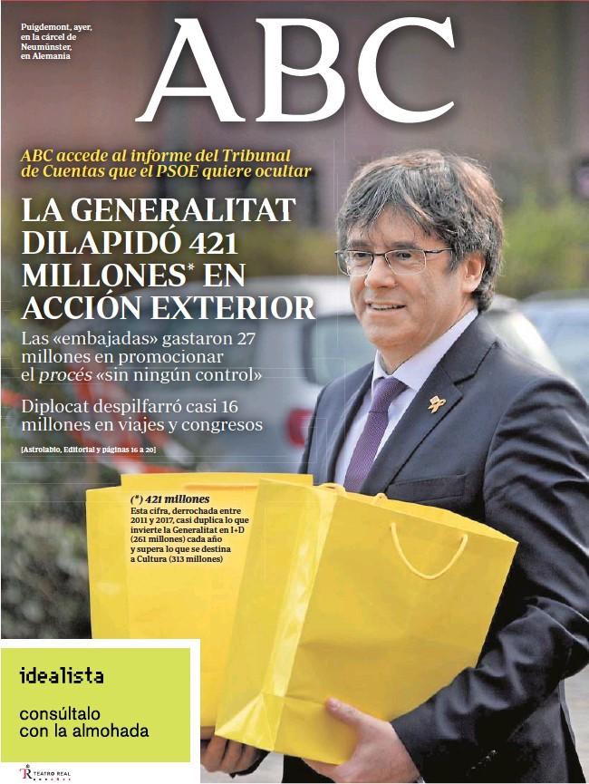 LA GENERALITAT DILAPIDÓ 421 MILLONES* EN ACCIÓN EXTERIOR