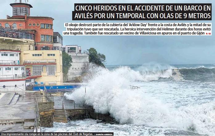 CINCO HERIDOS EN EL ACCIDENTE DE UN BARCO EN AVILÉS POR UN TEMPORAL CON OLAS DE 9 METROS