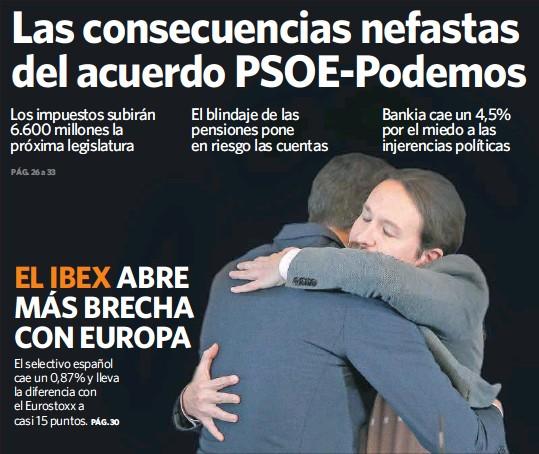 LAS CONSECUENCIAS NEFASTAS DEL ACUERDO PSOE-PODEMOS