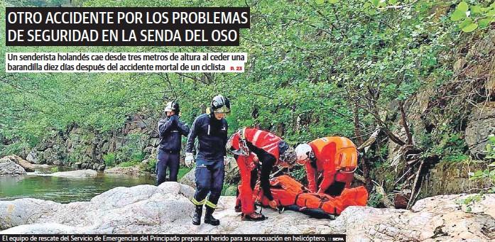 OTRO ACCIDENTE POR LOS PROBLEMAS DE SEGURIDAD EN LA SENDA DEL OSO