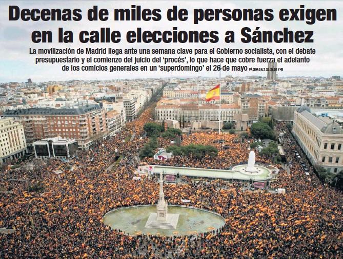 DECENAS DE MILES DE PERSONAS EXIGEN EN LA CALLE ELECCIONES A SÁNCHEZ
