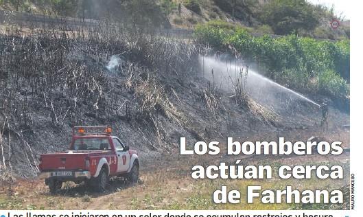 LOS BOMBEROS ACTÚAN CERCA DE FARHANA