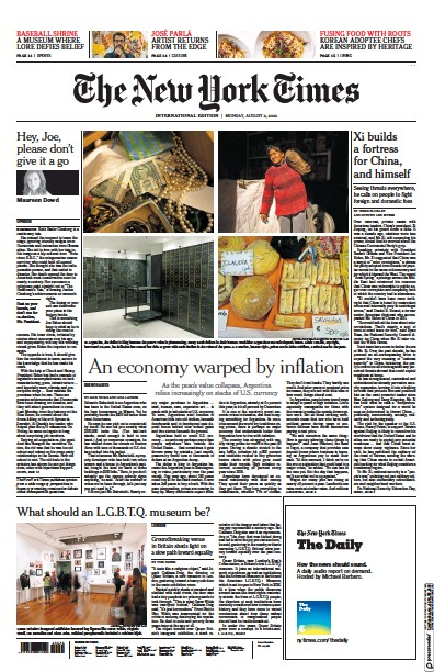Front page of International Herald Tribune newspaper from International