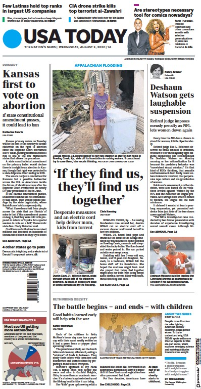 Front page of USA Today newspaper from USA