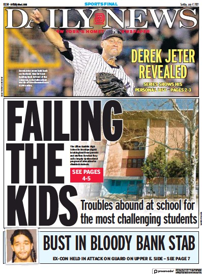 Front page of New York Daily News newspaper from USA